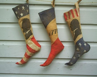 Primitive Americana  Stocking Trio