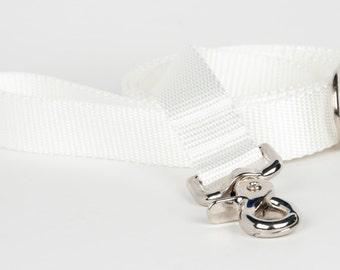 White Naked Webbing Dog Leash