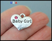 1 Baby GIRL Heart Charm Pendant - 17mm Message Word Metal Heart - Pink Rhinestone - New Baby Charm - Instant Ship - USA Discount Charm 6068