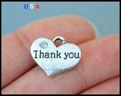 5 THANK You Heart Charm Pendant - 17mm Message Word Metal Heart w/ Rhinestone Dangle Charm - Instant Shipping - USA Wholesale Charm 6072