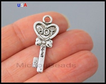 1 Hot KEY Charm Dangle - 29mm Antiqued Silver Heart Key Lock House Metal Pendant - Instant Ship - USA Wholesale Charms - 6213