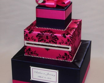 Navy Blue/Fuchsia(Hot Pink) Wedding Card Box-any color can be made