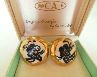 Vintage Screw Back Earrings China Hand Painted Black Gold Flowers 50's (item 283)