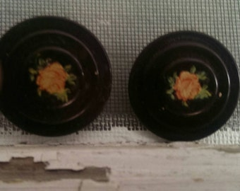 Vintage French Curtain Tie Backs Shabby Roses