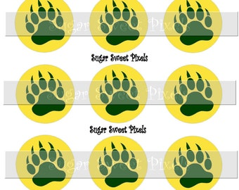 INSTANT DOWNLOAD Gold yellow Green Bear Claw two color  Paw Print School Mascot 1 inch Circle Bottlecap Images 4x6 sheet