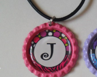 Pink Polka dot Zebra  Initial J Bottlecap Necklace
