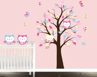 Playtime Owls - girls nursery decals - Owl wall decal - Stickers Arbre - Wandtattoo - Owl wall decals