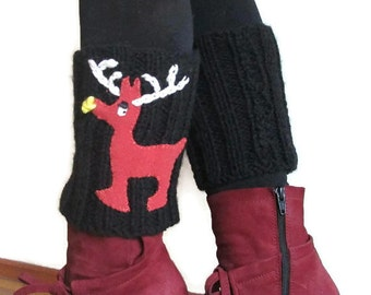 Black  Boot Socks - Deer Boot Socks Womens  - Womens Boot Socks - Christmas Black  Leg Warmers-  Deer Holiday Clothing Christmas Socks