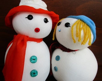 Snowman handmade toy,Stuffed Toys Cute Snowman and Toys snow woman Gift Ideas for Happy Christmas - New Year gifts,Made to order