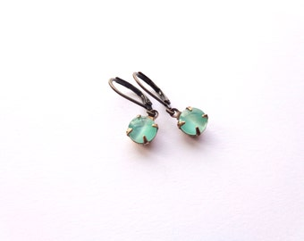 Little Ocean Blue Glass Gem Earrings.  Brass Round Gem Earrings. Aqua Green Moonglow Style.