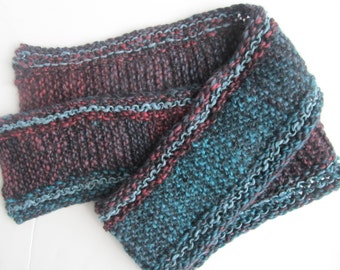 Handknit Woolblend Scarf, Teal and Red, One of a Kind, Ready to Ship.