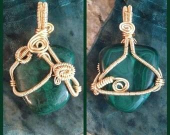 Beautifully Wrapped Malachite Pendant