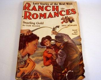 Vintage RANCH ROMANCES / Pulp Magazine / 2nd April 1942 / Love Adventure Westerns Stories / Book / WWII