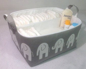 "XLA Diaper Caddy 13""x11""x7"" Fabric Storage Bin Basket Organizer Elephant on Stone Grey with White  Lining"