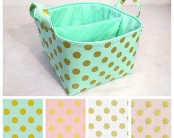 "Metallic LG Diaper Caddy 10""x10""x7"" Fabric Storage Bin Basket Organizer Gold Polka Dot with Light Pink Lining"