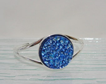 Dichroic Fused Glass Bracelet, Blue and Silver Plated Blue Dichroic Jewelry, Gifts for Women Under 40 Dollars, Sparkly Shades of Blue Glass