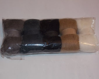 Variety of Natural Colored Felting Wool