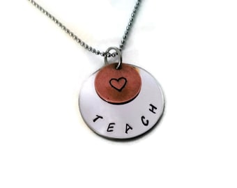TEACH necklace, Hand Stamped necklace for teachers, teacher thank you from Moonstone Creations