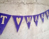 CLEARANCE SALE, Just Married Burlap Banner, Purple And Gold Wedding Banner