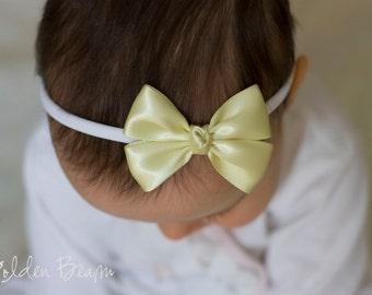 Pastel Yellow Baby Bows - Flower Girl Headband - Pastel Yellow Like a Butterfly Satin Bow Baby Handmade Headband - Baby to Adult Headband