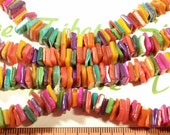 1 long strand 32 inches long 8x2mm Dyed Multicolor Rainbow Mother of Pearl Shell center drilled Square shape.