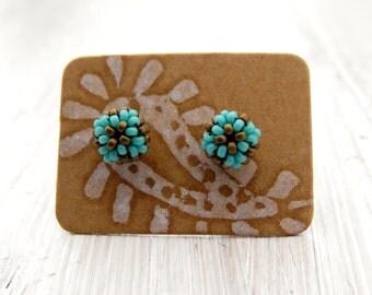Handwoven Stud Earrings - stud earrings, handmade earrings, red earrings, handwoven, colorful earrings, bead earrings, petite earrings