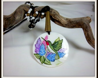 Hummingbird Necklace, Mother of Pearl Pendant, Lilacs, Pastel Colors, Hand-Painted Hummingbird,