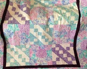 BABY QUILT Jacobs Ladder Pattern - Blues Pinks Lavenders