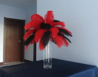 100pcs Red & Black Ostrich Feather Plume for Wedding centerpieces,