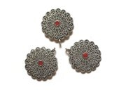 Victorian Pendants Antiqued Silvertone Metal Red Center Supplies Jewelry Supplies Set of 3