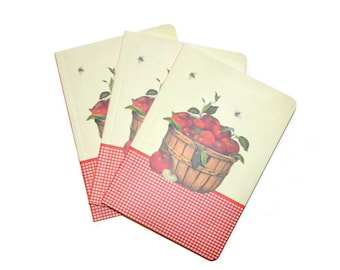 Harvest Apples Soft Cover Blank Journals Set of Three 5 x 7 Blank Journals Red Apples