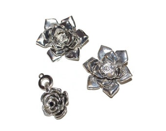 Silver Rose Flower Pendants Set of Two Antique Silver Flower Charms  Craft Supplies Jewelry Supplies