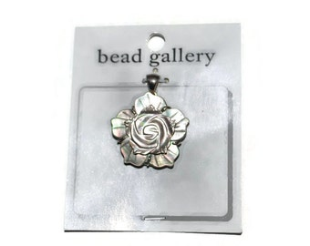 Abalone and Silver Rose Flower Pendant Shell Abalone Shell Flower  Craft Supplies Jewelry Supplies