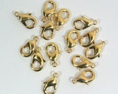12mm x 7mm Lobster Clasps - Bright Gold Finish - Choose Your Quantity