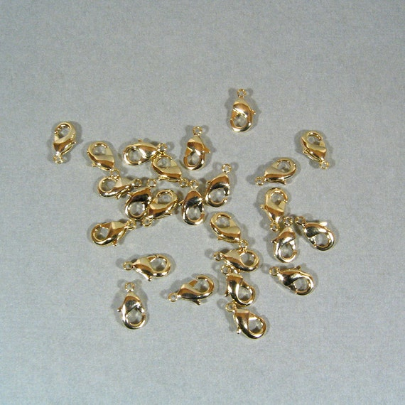 9mm x 5mm Lobster Clasps - Bright Gold Finish - Choose Your Quantity