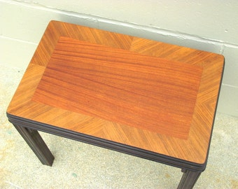 ART DECO Bench Stool Seat - Vanity Dressing Table Desk ALL Original with Fabulous Matched Wood Grain Veneer
