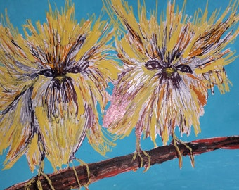 """Two Baby Birds Sitting on a Tree original painting 7""""×5"""" on wood panel."""