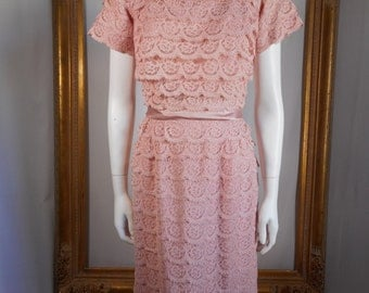 Vintage 1950's DuBarry Dusty Pink Lace Dress - Size 10