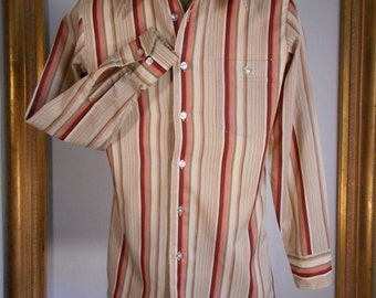 Vintage 1970's Lew Magram Beige/Rust & Green Striped Long Sleeve Shirt - Size Small