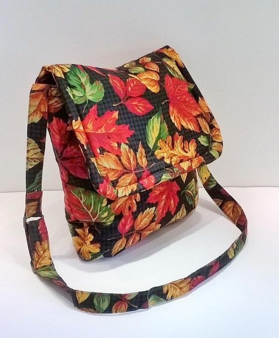Autumn Leaves Bag Autumn Messenger Bag Fall Messenger Bag