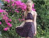 Black Pink 90s Floral Panel Skirt xs small medium Shred Threads Orginal