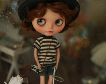 Miss yo 2015 Summer & Autumn - Basic T shirt for Blythe / JerryBerry doll - dress / outfit - Green Stripes
