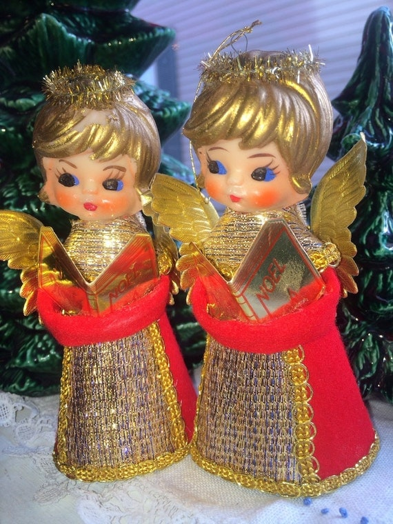 1960s Angels Christmas tree toppers decor, paper angels, dolls