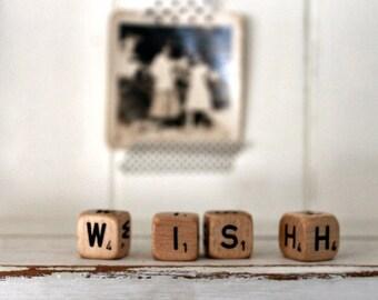 Vintage Letter Cubes WISH