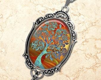 Magical Trees Oval Pendant Necklace Boho Style Filigree Pendant Art Pendant Photo Graphic Pendant