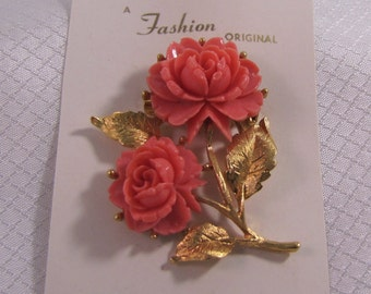 "c1960's ""A Fashion Orginal"" Pink Coral Celluloid Rose Blossom Brooch"