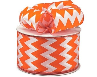 "5yds x 2-1/2"" ORANGE & WHITE Satin Chevron Print Wired Edge Ribbon"
