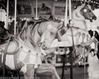 Black and White New York City Carousel Photography Print Jane's Carousel Horses Brooklyn NY Childrens Room Decor Modern Wall Art Home Decor