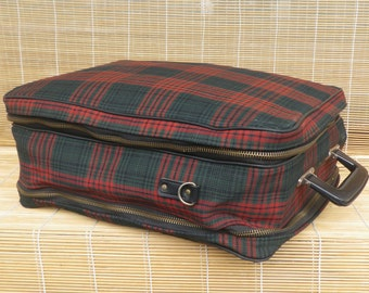 Vintage Small Size Checkered Canvas Weekend Travel Bag Zip Up Suitcase