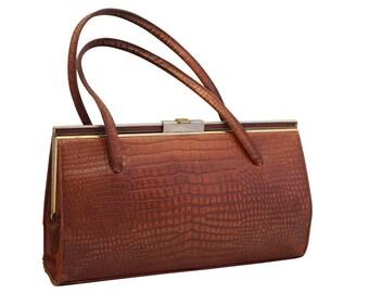 Vintage Brown Leather Ackery Handbag,  Top Handle Bag,Purse, Mad Men Bag, 1950s